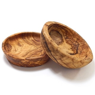 Set of 2 Le Souk Olivique Olive Wood Pinch/ Prep Large Bowls (Tunisia)