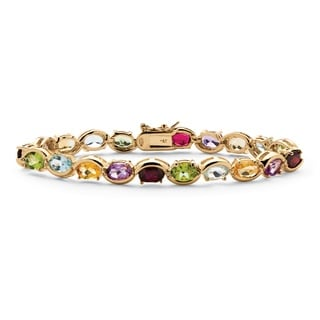 18k Yellow Gold over Silver Genuine Gemstone and Diamond Accent Tennis Bracelet