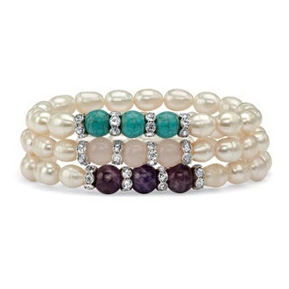 Cultured Freshwater Pearl and Gemstone Accent Three-Piece Stretch Bracelet Set in Silverto