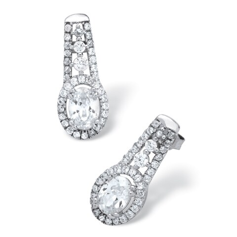 2.34 TCW Oval-Cut Cubic Zirconia Drop Earrings in Platinum over Sterling Silver Glam CZ