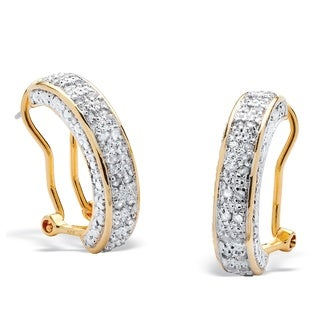 18k Yellow Gold over Silver 1/2ct TDW Round Diamond Hoop Earrings