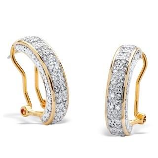 PalmBeach 18k Yellow Gold over Silver 1/2ct TDW Round Diamond Hoop Earrings (I-J, I2-I3)