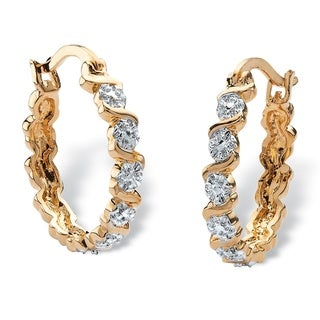 18k Yellow Gold Overlay Round Diamond Accent S-link Hoop Earrings