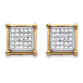 14k Gold over Silver 1/8ct TDW Diamond Square Cluster Stud Earrings (H-I, I1-I2)