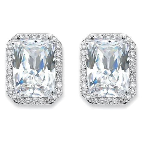 Silver Tone Emerald Cut Stud Earrings Cubic Zirconia (17 1/2 cttw TDW)