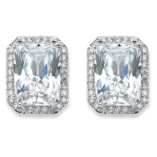 PalmBeach 17.50 TCW Emerald-Cut Cubic Zirconia Halo Stud Earrings in Silvertone Glam CZ