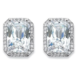 17.50 TCW Emerald-Cut Cubic Zirconia Halo Stud Earrings in Silvertone Glam CZ