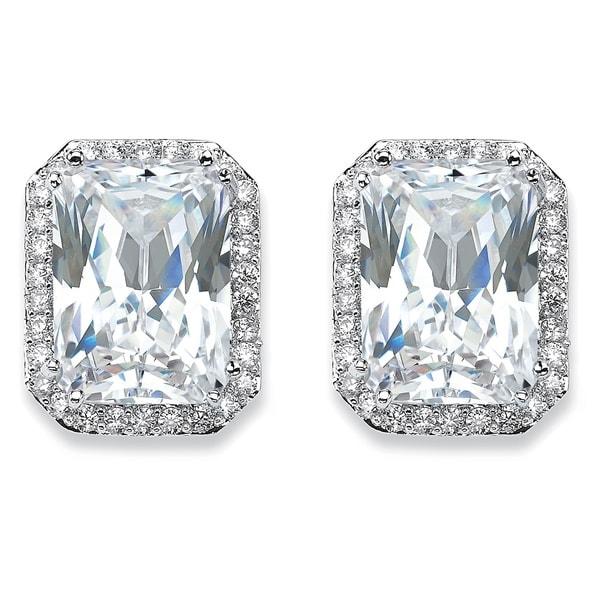 Silver Tone Emerald Cut Stud Earrings Cubic Zirconia 17 1 2 Cttw Tdw