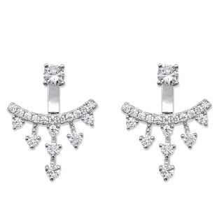 PalmBeach 1.14 TCW Round Cubic Zirconia Ear Jacket Earrings in Sterling Silver Bold Fashion