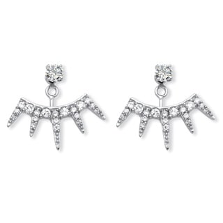 PalmBeach 1.11 TCW Round and Pave Cubic Zirconia Ear Jacket Earrings in Platinum over Sterling Silver Bold Fashion