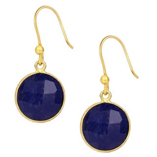 Handmade Saachi Gold Clad Faceted Round Gemstone Earrings (India)