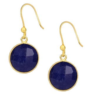 Handmade Saachi 18k Gold Clad Faceted Round Gemstone Earrings (India)