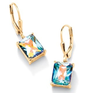PalmBeach 7.60 TCW Emerald-Cut Aurora Borealis Cubic Zirconia Drop Earrings 14k Yellow Gold-Plated Color Fun