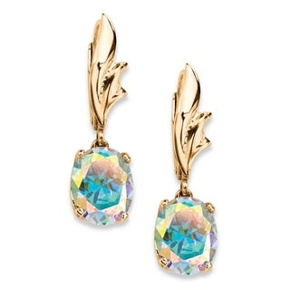 PalmBeach 5.08 TCW Oval Aurora Borealis Cubic Zirconia Drop Earrings 14k Yellow Gold-Plated Color Fun