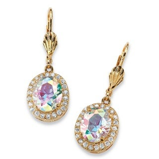 8.58 TCW Oval-Cut Aurora Borealis Cubic Zirconia Halo Drop Earrings 14k Gold-Plated Color