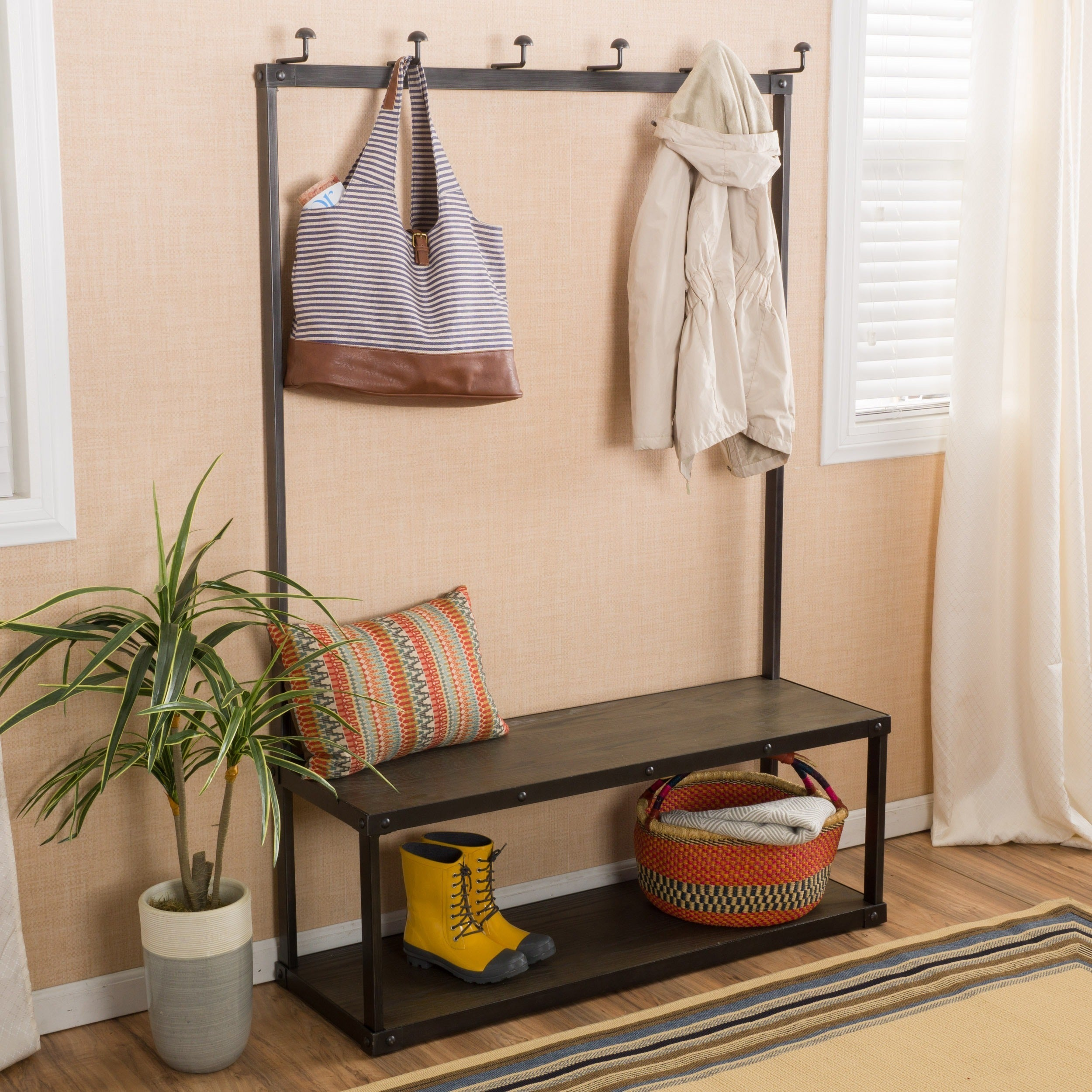 Shop Vigo Entry Bench With Coat Rack By Christopher Knight Home On Sale Overstock 11416848