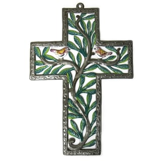 Handcrafted Recycled Steel Drum Painted Birds and Branches Cross Metal Art (Haiti)