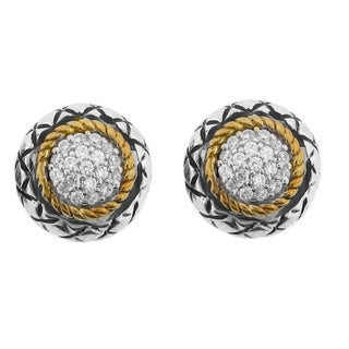 Meredith Leigh 14k Yellow Gold and Sterling Silver Cubic Zirconia Earrings