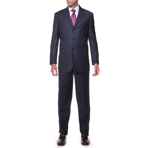 Ferrecci Men's Navy Regular Fit 2-piece 3-Button Suit