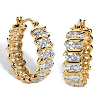PalmBeach 18k Yellow Gold Overlay Round Diamond Accent S-link Hoop Earrings