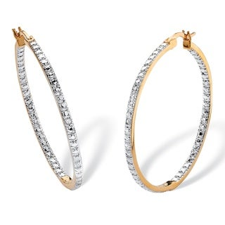 18k Yellow Gold Overlay Diamond Accent Inside-out Hoop Earrings