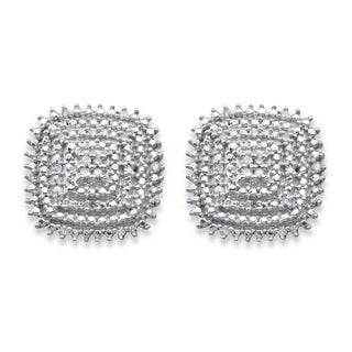 PalmBeach 14k Gold over Silver 1/10ct TDW Diamond Square Cluster Stud Earrings (H-I, I1-I2)