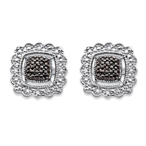 Sterling Silver Black Diamond Accent Squared Halo-Style Stud Earrings
