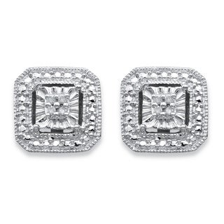 Sterling Silver Round Diamond Accent Octagon Halo-Style Stud Earrings