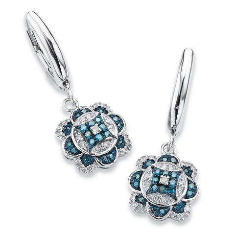 Platinum over Silver 1/4ct TDW Enhanced Blue and White Diamond Floral Motif Drop Earrings