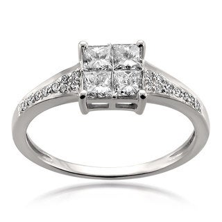 Montebello 14k White Gold 3/4ct TDW Princess-Cut Diamond Composite Engagement Ring