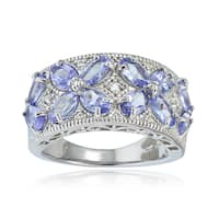 Glitzy Rocks Sterling Silver Tanzanite and White Topaz Flower Ring