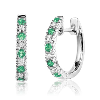 10k White Gold Emerald and Diamond Accent Hoop Earrings