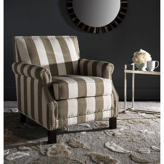 Safavieh Easton Taupe/ White Stripe Silver Nail Heads With Awning Stripes Club Chair