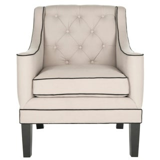 Safavieh Sherman Taupe/ Black Tufted Arm Chair