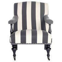 Safavieh Devona Charcoal/Off-White Stripe Awning Silver Nail Heads Stripe Arm Chair