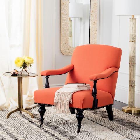 "Safavieh Devona Orange Brass Nail Heads Arm Chair - 27.6""x36.8""x35"""