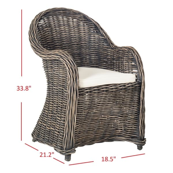 "Safavieh Callista Black Wash Wicker Club Chair - 24"" x 26"" x 35"""