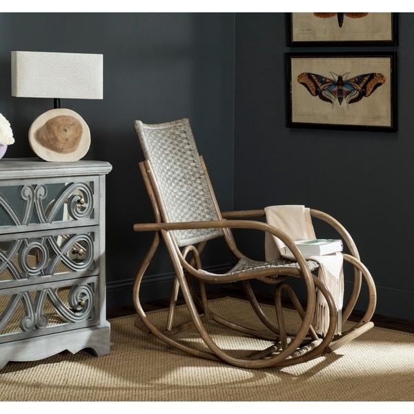 "Safavieh Bali Antique Grey Rocking Chair - 23.2"" x 39.3"" x 38.1"". Opens flyout."
