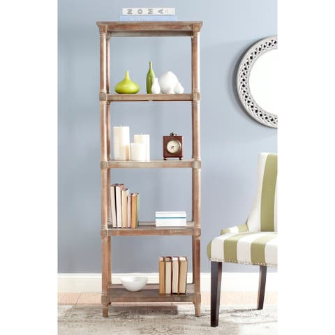 "Safavieh Odessa Washed Natural Pine 5-Tier Bookcase - 23.6"" x 15.7"" x 66.9"""