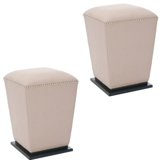 Safavieh Mason Beige Fabric Ottoman (Set of 2)