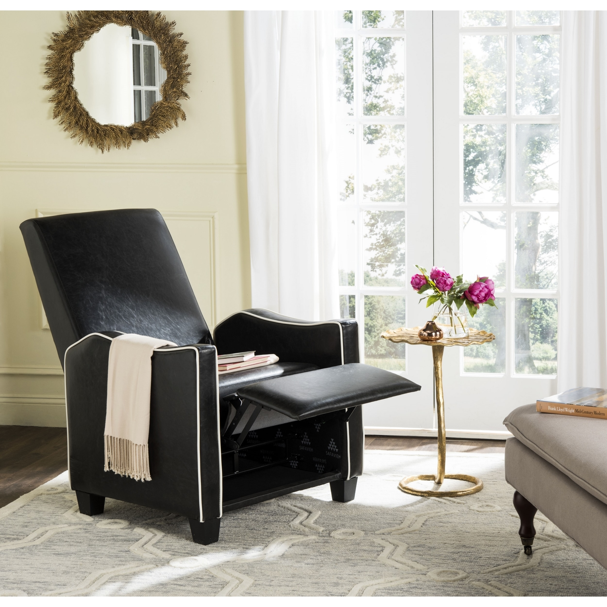 Pleasant Safavieh Holden Black White Recliner Chair Pabps2019 Chair Design Images Pabps2019Com