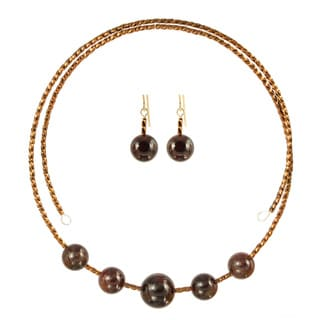 Garnet Glamour Choker Necklace Earring Set
