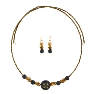 Midnight Twist Choker Necklace and Earring Set