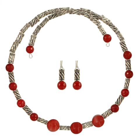 Raspberry Ripple Choker Necklace and Earring Set