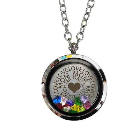 Pink Box Mom Daughter Love Locket with Cubic Zirconia Stones