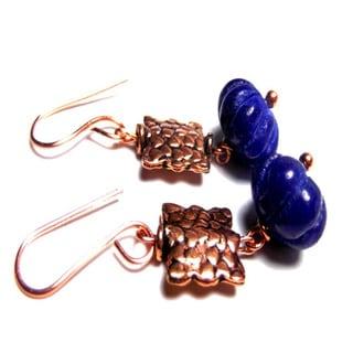 Blue Pumpkin Sapphire Solid Copper Hook Earrings