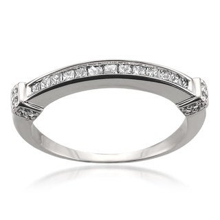 Montebello 14k White Gold 1/3ct TDW Princess-cut Channel Wedding Band