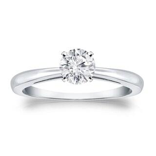 Auriya 18k Gold 1/3ct TDW Round Diamond Solitaire Engagement Ring (H-I, VS1-VS2)