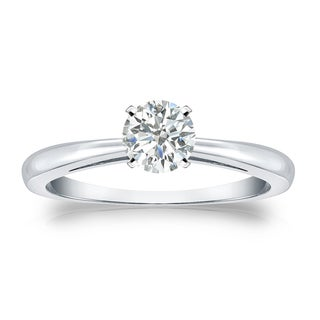 Auriya 18k Gold 1/3ct TDW Round Diamond Solitaire Engagement Ring (I-J, SI2-SI3)