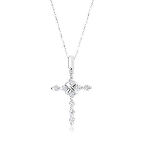 SummerRose 14k White Gold 1/2ct TDW Diamond Cross Pendant Necklace